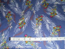 """Polyester Fabric Blue with Feathers and Flower Bouquets 62"""" L x 58"""" W Sewing"""