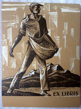 Old Ex Libris Bookplate - Cityscape Mountains Sower Book Plate