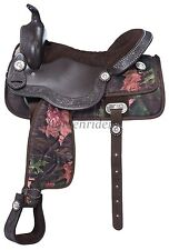 16 Inch Pro Trail Western Saddle - Eclipse - Brown Tough Timber - Silver Accents