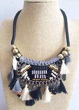 Nero Bianco Etnico Azteco Bohemien Con Nappa Stile Africano Corda Dichiarazione Collana