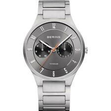 BERING MEN'S 39MM SILVER-TONE TITANIUM BRACELET & CASE QUARTZ WATCH 11539-779