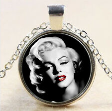 Vintage Marilyn Monroe Cabochon Tibetan silver Glass Chain Pendant Necklace #748