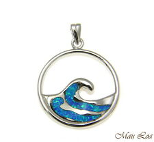 925 Sterling Silver Rhodium Hawaiian 23mm Ocean Wave Blue Opal Pendant Charm