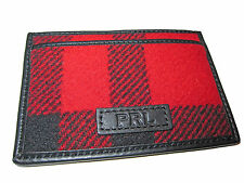 Polo Ralph Lauren Red Black Buffalo Check Plaid Wool Leather ID Card City Wallet
