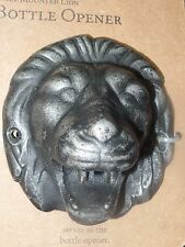LION HEAD WALL MOUNTED METAL FIGURAL BOTTLE OPENER BAR MAN CAVE REGAL