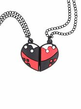 DC COMICS SUICIDE SQUAD HARLEY QUINN BEST FRIENDS BFF HEART 2 NECKLACE SET NEW