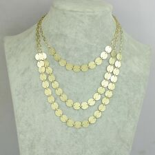 Art Deco style three layers gold frosted circle chandelier necklace