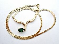 14K Yellow Gold Diamond & Green Tsavorite Garnet Necklace Vintage 585 Jewelry