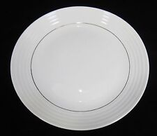 Gibson Everyday Dinner Plate  Downtown Gold  White Embosses Rings & Gold Trim