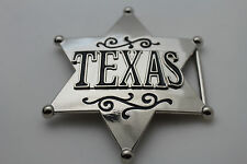 New Men Western Fashion Belt Buckle Silver Metal Texas Lone Star Big Sheriff Tag