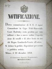 W734-LOMB.VENETO-1848 PROIBIZIONE ESPORTAZIONE CAVALLI E BESTIE DA TIRO