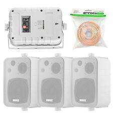 """EKMR408W 4"""" 200W 3-Way Indoor Outdoor Speakers, 18 Gauge 50 Feet  Speaker Wire"""