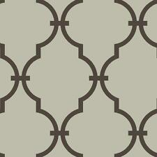 Wallpaper Designer Moroccan Arabesque Dark Brown Trellis on Pewter