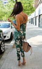 ZARA GREEN FLORAL PRINTED FLOWING JUMPSUIT PLAYSUIT SIZE XSMALL XS  BLOGGERS