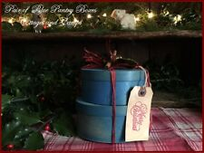Stack of 2 Blue Pantry Boxes with Country Christmas Gift Tag & Cinnamon Sticks