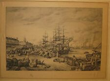 Antique Charles Vanderhoof 'LEVEE, NEW ORLEANS' Etching - Listed Boat Dock Scene