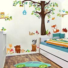 COMBO kidss adesivi murali animali Della Foresta Gufo, Cervi, FOX, Scoiattolo Peel & Stick