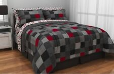Minecraft Style Bedding Full Size Comforter Sheet Set Reversible Gray Red Black