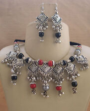 Tribal Kuchi Costume Belly Dance NECKLACE EARRING Silver pl Vintage Gypsy f487