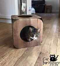 Cardboard Cat House  Bed Toy Scratcher Wood Effect Cube