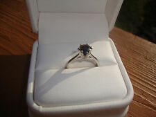 18KT WHITE GOLD -  ROUND  BLACK DIAMOND RING