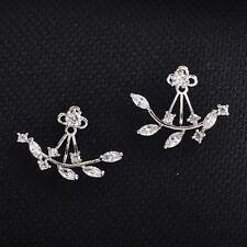 Women Lady Crystal Leaf Ear Jacket Earrings Silver Plated Back Cuff Stud Earring
