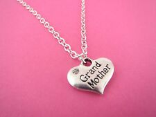 "Rhinestone Heart ""Grand Mother"" Pendant 18"" Necklace Brand New in Gift Bag Xmas"