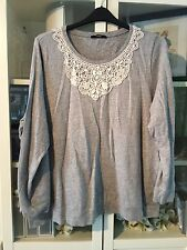 698 George Plus Sz 24 Grey Marl 100% Cotton Jumper Crochet&Stone Neckline