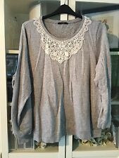 George Plus Sz 24 Grey Marl 100% Cotton Jumper Crochet&Stone Neckline