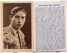 """Tauromaquia Toreros """"Bienvenida""""  Tarjeta del año 1945 (CH-373)"""
