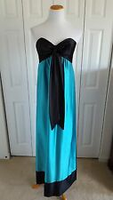 80s Vtg Jessica McClintock Gunne Sax Sz 9 Teal Black Bow Strapless Formal Dress