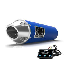 HMF Performance Slip On Exhaust Blue Polished Euro End Cap EFI Optimizer Grizzly