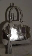 NWT Silver & White Leather Dome Satchel with Whipstitch Trim