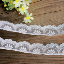 1 yd Scalloped Mesh Lace Embroidered Trim Bridal Ribbon Applique Craft Sewing