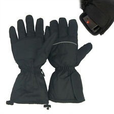 Black Heated Gloves Battery Powered For Motorcycle Hunting Winter Warmer Outdoor