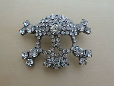 Genuine Crystal, Pirate Skull And Cross Bones Sparkly Brooch, Pin
