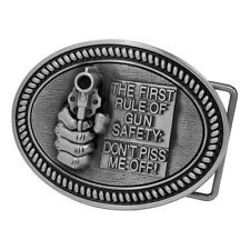 Gun Safety Snap On Belt Buckle Oval Revolver Funny Design Pistol Metal 3.5x2.62""