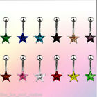 Star Solitaire CZ Gem Belly Ring Navel Naval Blue,Red,Green,Aqua,Pink,Purple