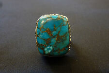 Stunning Vintage Large Spider Web Turquoise  Filigree Men's Sterling Silver ring