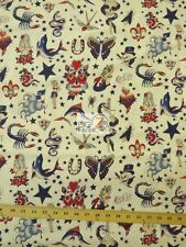 TATTOO IVORY BY ALEXANDER HENRY COTTON FABRIC BY THE YARD DIY CLOTHIING DECOR