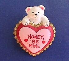 BUY1&GET1@50%~PIN Valentines POLAR BEAR HONEY Be MINE Glitter HEART Vtg Brooch