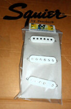 TWIN MAGNET FENDER Squier STRATOCASTER PICKUP Set of 3 w/ White Covers & Screws