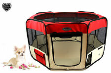 VALENTINA VALENTTI FABRIC FOLDING PET PLAY PEN – SMALL – RED - S - SMALL SIZE