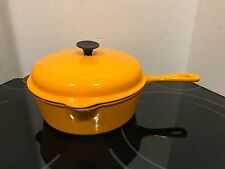 "Vintage Yellow LE CREUSET #23 DEEP SKILLET 9"" Cast Iron Frying Pan W/ Lid NICE!"