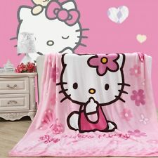 Pink hello kitty style coral fleece cartoon blankets for bed throws bedclothes