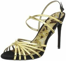 SAM EDELMAN HARLETTE Gold Black Womens Designer Shoe Strappy Pumps Heels 10 NWB