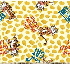 "1 yard Springs Kellogg's Frosted Flakes Tony the Tiger ""They're Great"" Fabric"