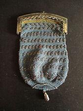 ancienne bourse aumônière en tissu et acier XIX ème