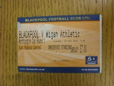 21/08/2001 Ticket: Blackpool v Wigan Athletic [Football League Cup]. This item h