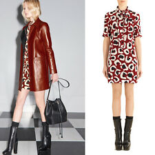 sz 46 NEW $1,850 GUCCI RUNWAY Red Silk LEOPARD PRINT Scarf Neck SHIRT DRESS 8/10